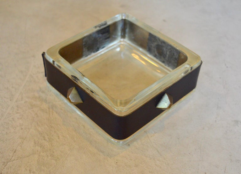 French Jacques Adnet Leather and Glass Catchall