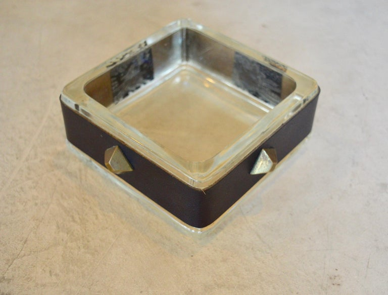 Jacques Adnet Leather and Glass Catchall In Good Condition In Los Angeles, CA