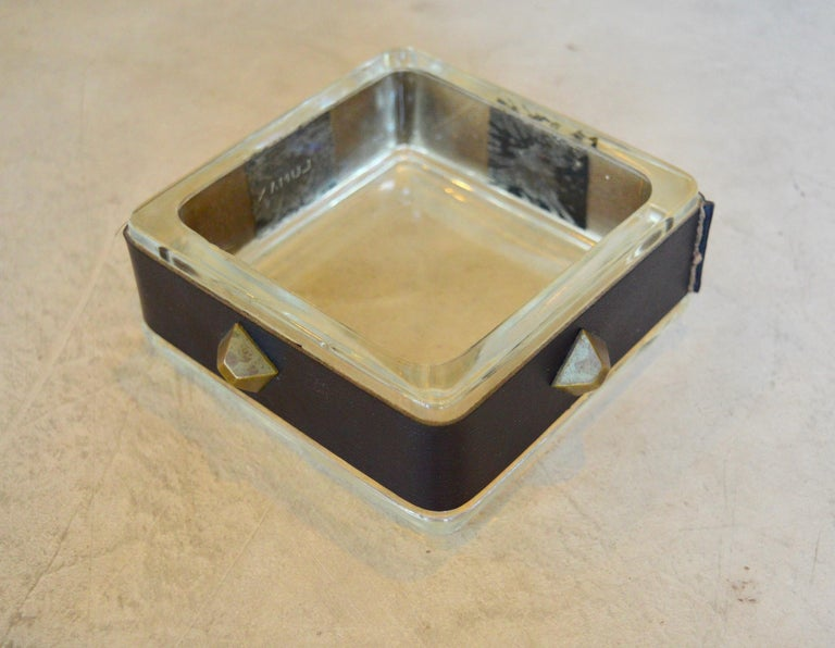 Mid-20th Century Jacques Adnet Leather and Glass Catchall