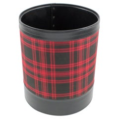 Jacques Adnet Leather and Plaid Desk Office Paper Waste Basket