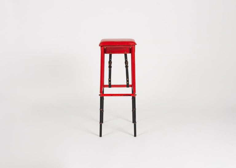 20th Century Jacques Adnet Leather Bar Stool, France, circa 1950 For Sale