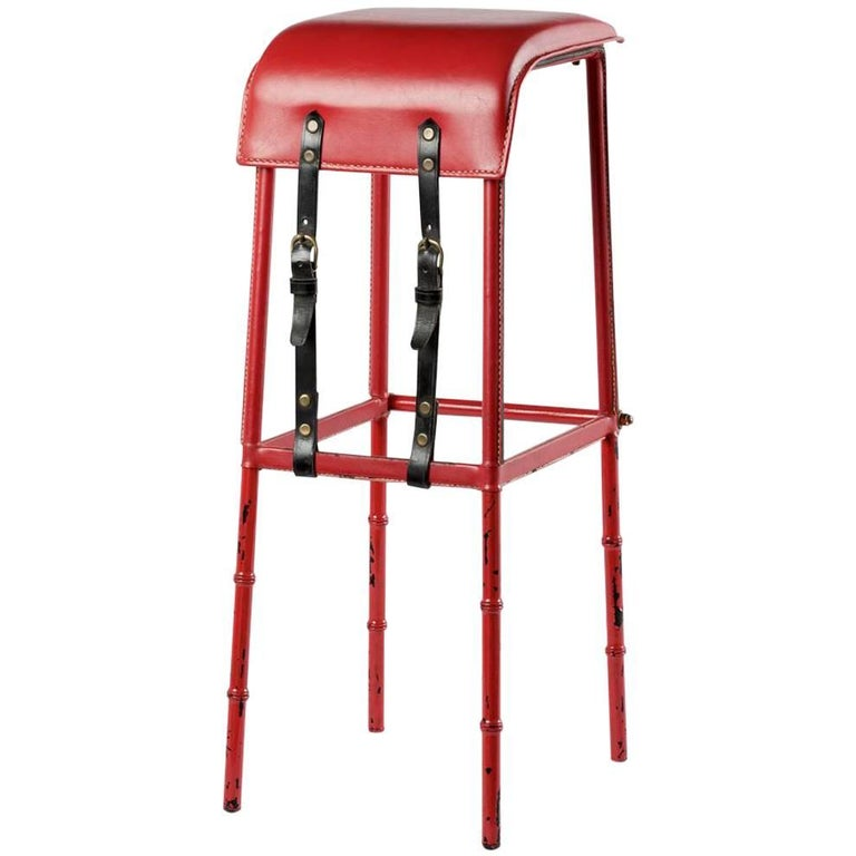 Jacques Adnet Leather Bar Stool, France, circa 1950 For Sale