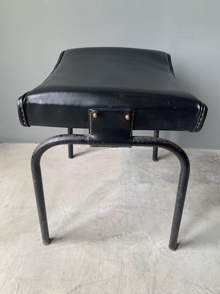 Jacques Adnet Leather Chair with Matching Footstool For Sale 6