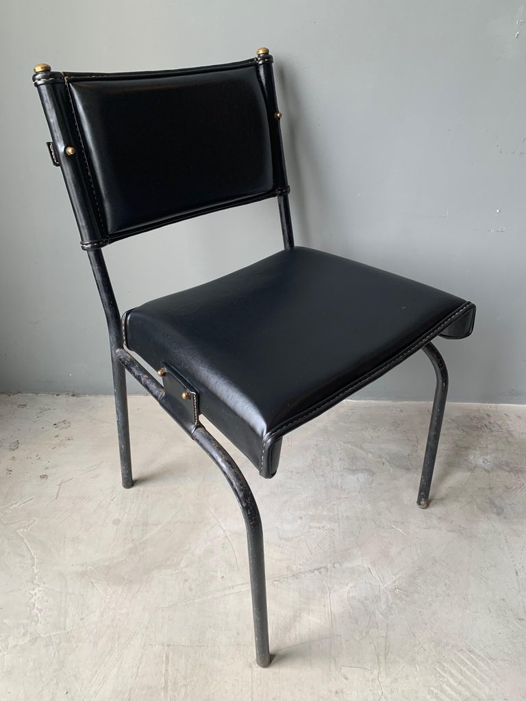French Jacques Adnet Leather Chair with Matching Footstool For Sale