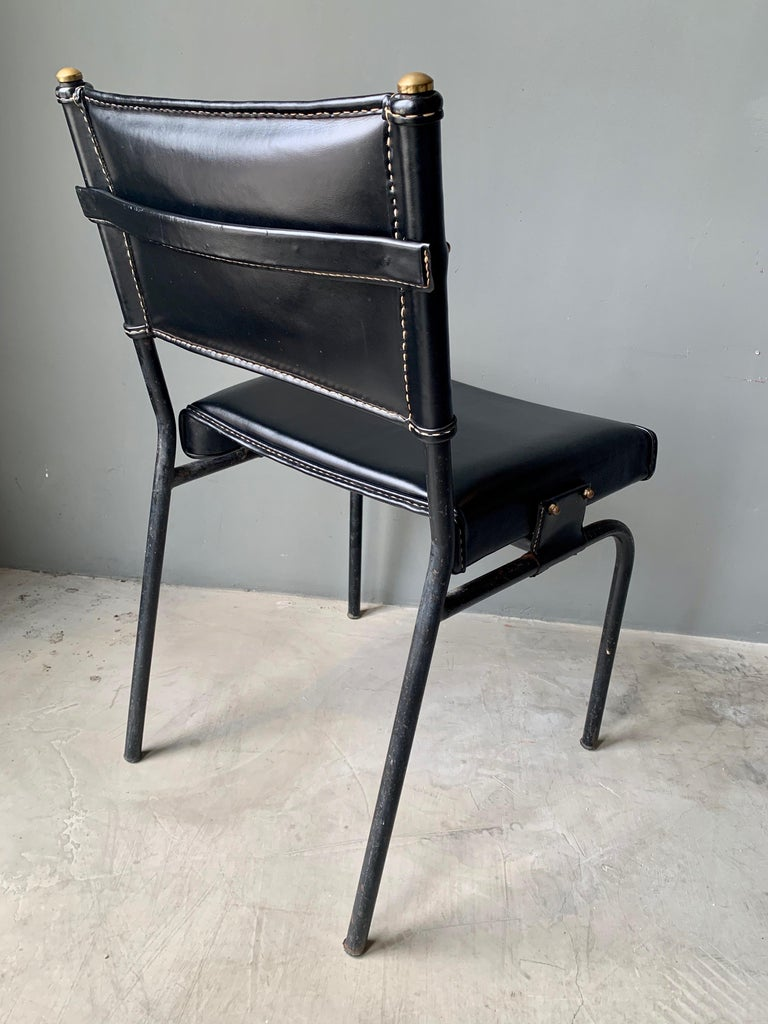 Mid-20th Century Jacques Adnet Leather Chair with Matching Footstool For Sale