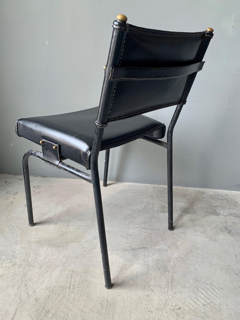 Jacques Adnet Leather Chair with Matching Footstool For Sale 2