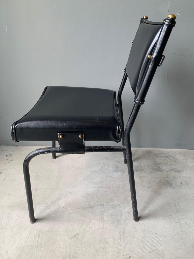 Jacques Adnet Leather Chair with Matching Footstool For Sale 3
