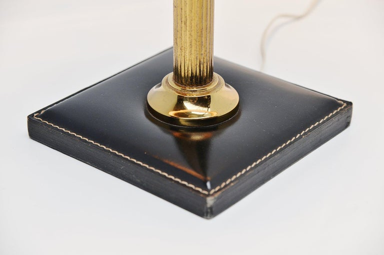 French Jacques Adnet style Leather Clad Lamp, France, 1960 For Sale