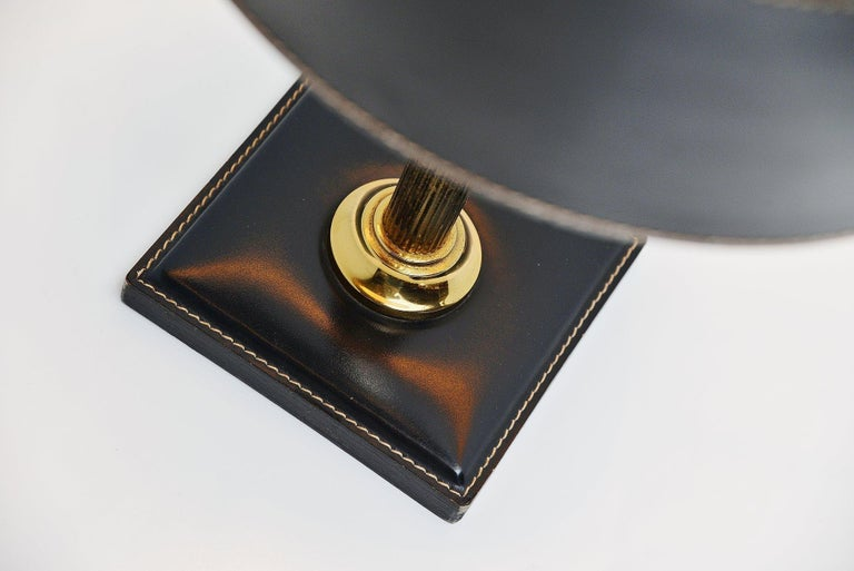 1960s Jacques Adnet style Leather Clad Lamp, France, 1960 For Sale