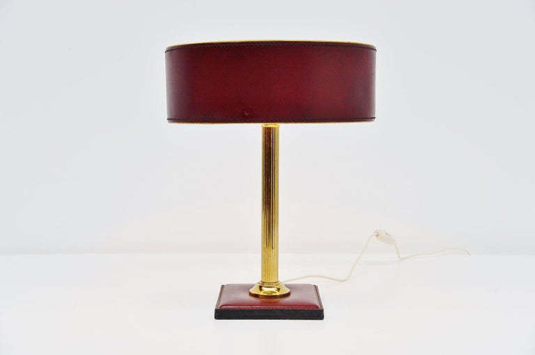 French Jacques Adnet Leather Clad Lamp in Red France, 1960 For Sale