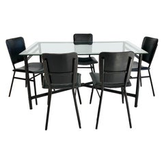 Jacques Adnet Leather Dining Table and 5 Leather Chairs