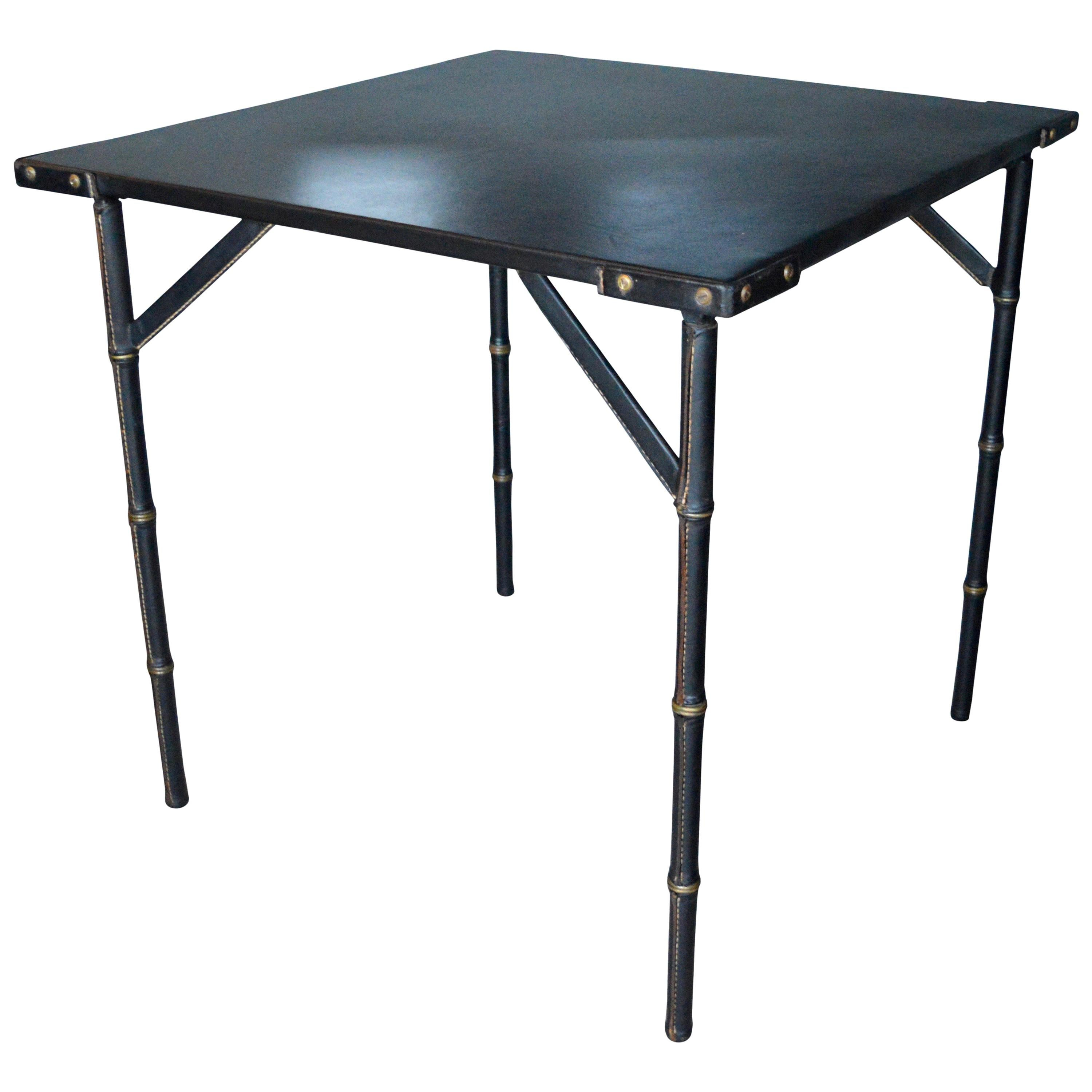 Jacques Adnet Black Leather Game Table