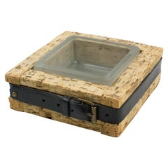 Jacques Adnet Leather Glass Cork Ashtray Catchall Tidy