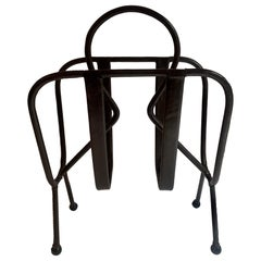 Jacques Adnet Leather Magazine Rack