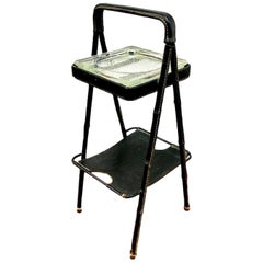 Jacques Adnet Leather Side Table or Catchall