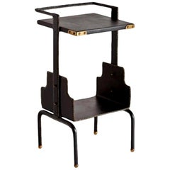 Jacques Adnet Leather Side Table