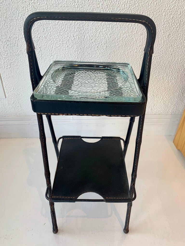 Jacques Adnet Leather Side Table or Catchall 3