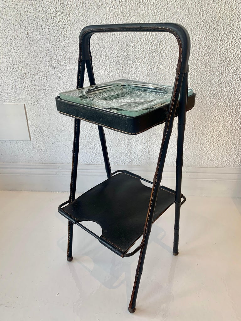 French Jacques Adnet Leather Side Table or Catchall