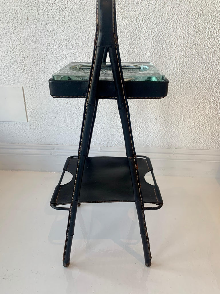 Jacques Adnet Leather Side Table or Catchall In Good Condition In Los Angeles, CA