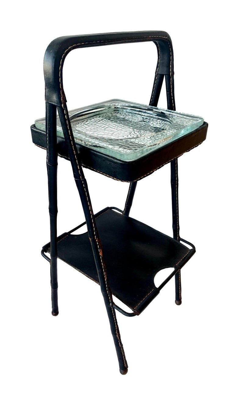 Jacques Adnet Leather Side Table or Catchall 6
