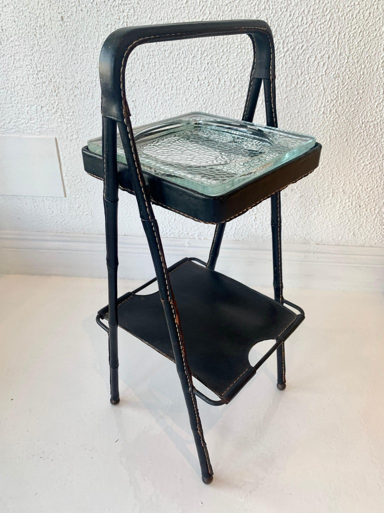 Mid-20th Century Jacques Adnet Leather Side Table or Catchall