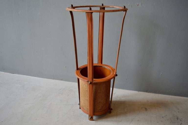 French Jacques Adnet Leather Umbrella Stand For Sale