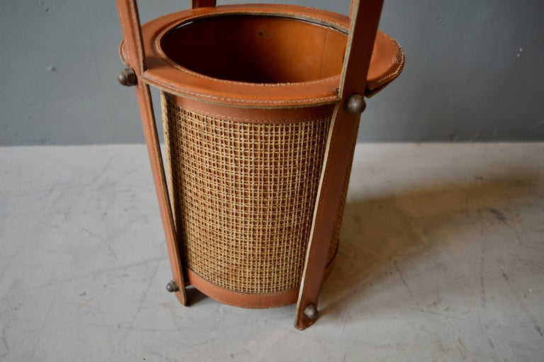 Jacques Adnet Leather Umbrella Stand In Good Condition For Sale In Los Angeles, CA