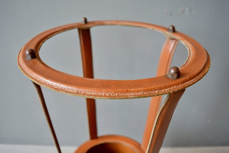 Mid-20th Century Jacques Adnet Leather Umbrella Stand For Sale