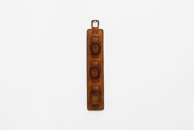 French Jacques Adnet Leather Wall Hook For Sale