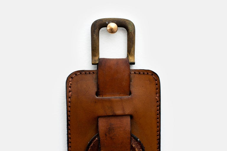 Mid-20th Century Jacques Adnet Leather Wall Hook For Sale