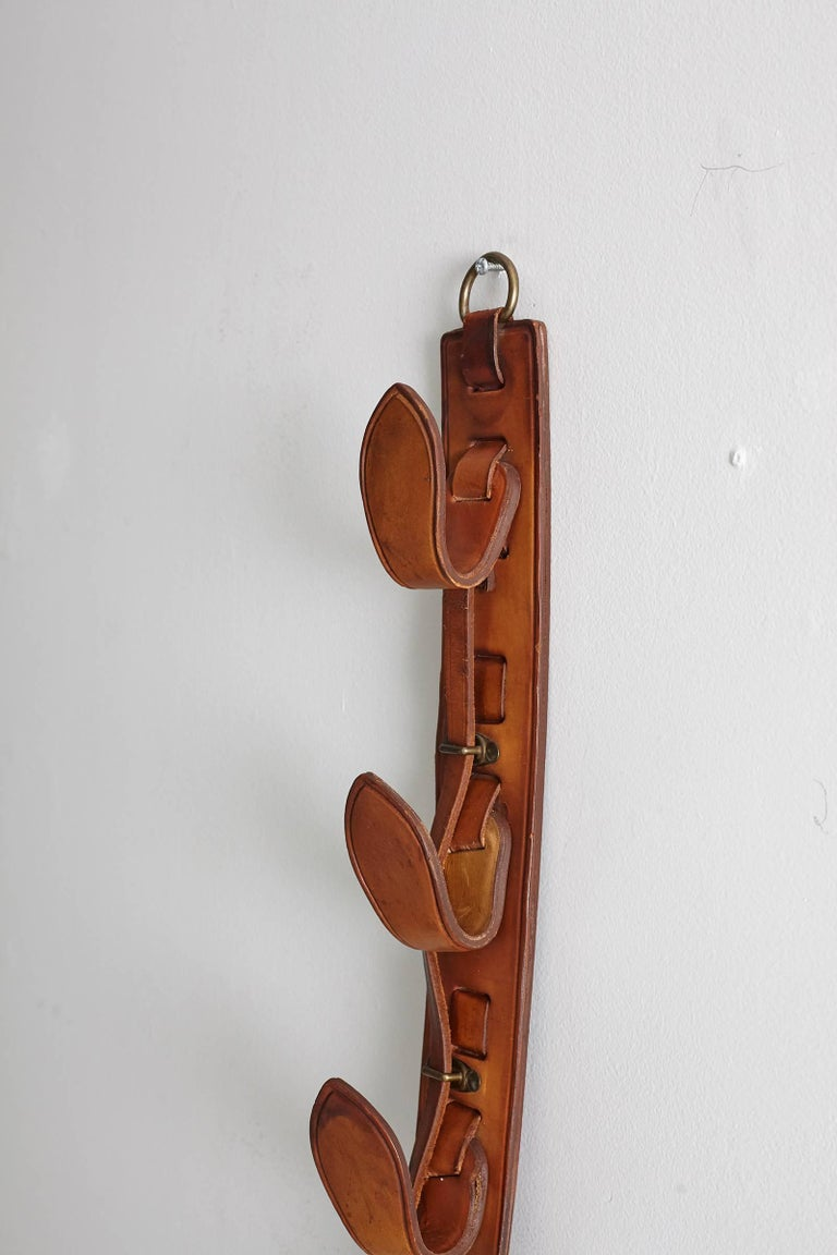 Jacques Adnet Leather Wall Hook For Sale 1