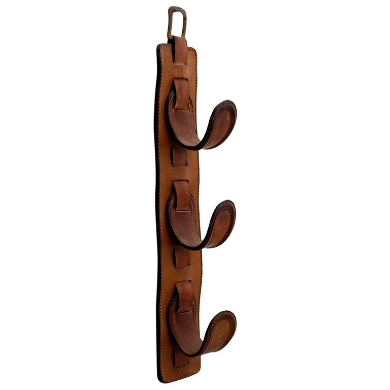 Jacques Adnet Leather Wall Hook For Sale
