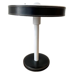 Jacques Adnet Leather with Metal Base Table Lamp
