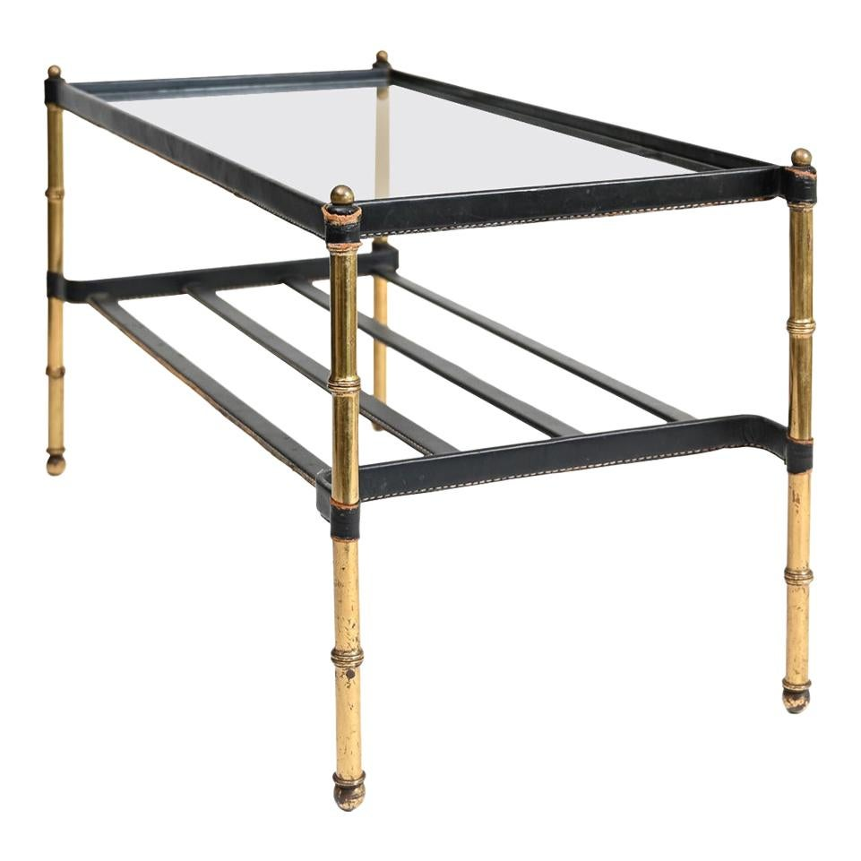 Jacques Adnet Leather Wrapped Low Table