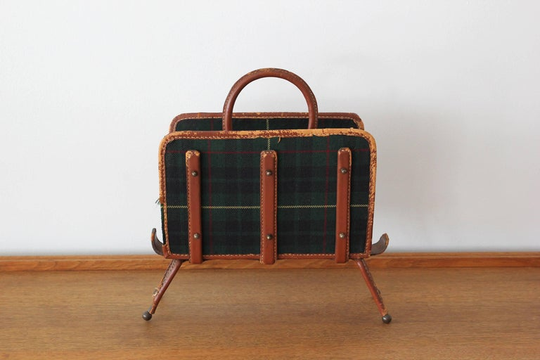 Handsome tartan plaid magazine holder with signature tan leather with contrast stitching.  Great patina.