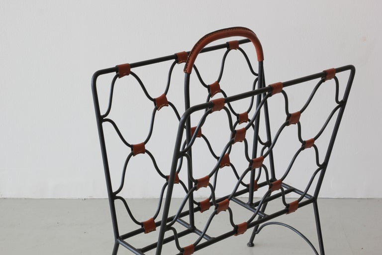 Mid-20th Century Jacques Adnet Magazine Holder For Sale