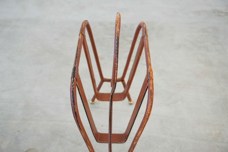 French Jacques Adnet Magazine Rack For Sale