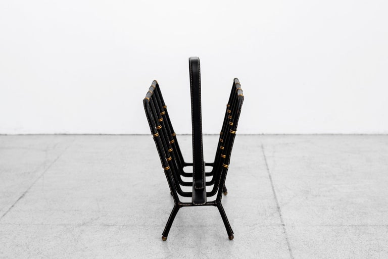Jacques Adnet Magazine Rack In Good Condition For Sale In Los Angeles, CA