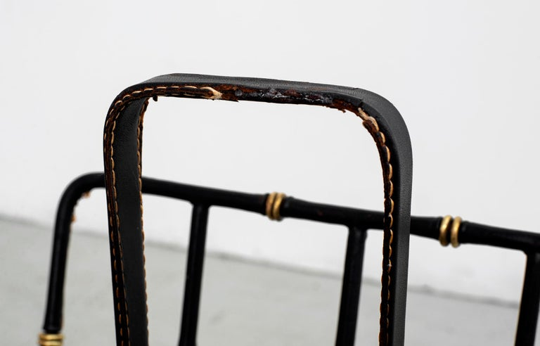 Brass Jacques Adnet Magazine Rack For Sale