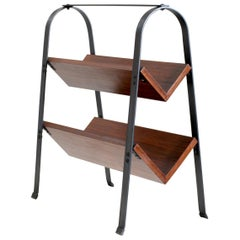 Jacques Adnet, Mahogany and Blackened Iron Bookcase, France, 1950