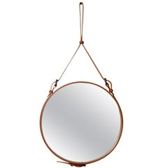 Jacques Adnet Medium Circulaire Mirror with Brown Leather