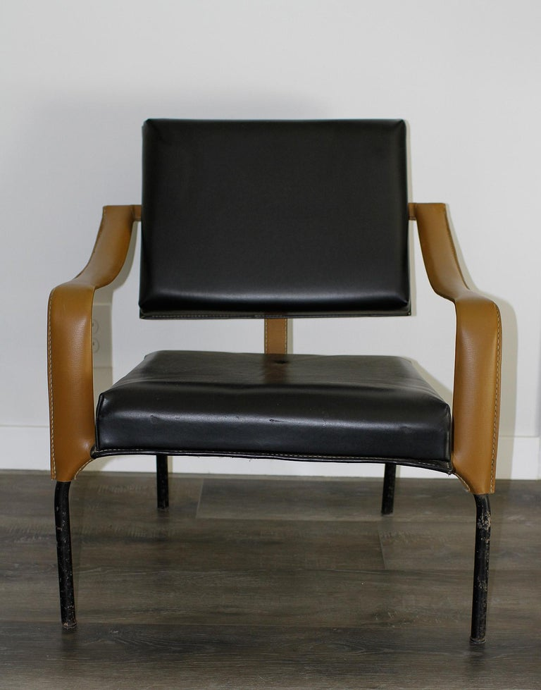 French Jacques Adnet & Mercier Original Pair of Chairs 1955 For Sale