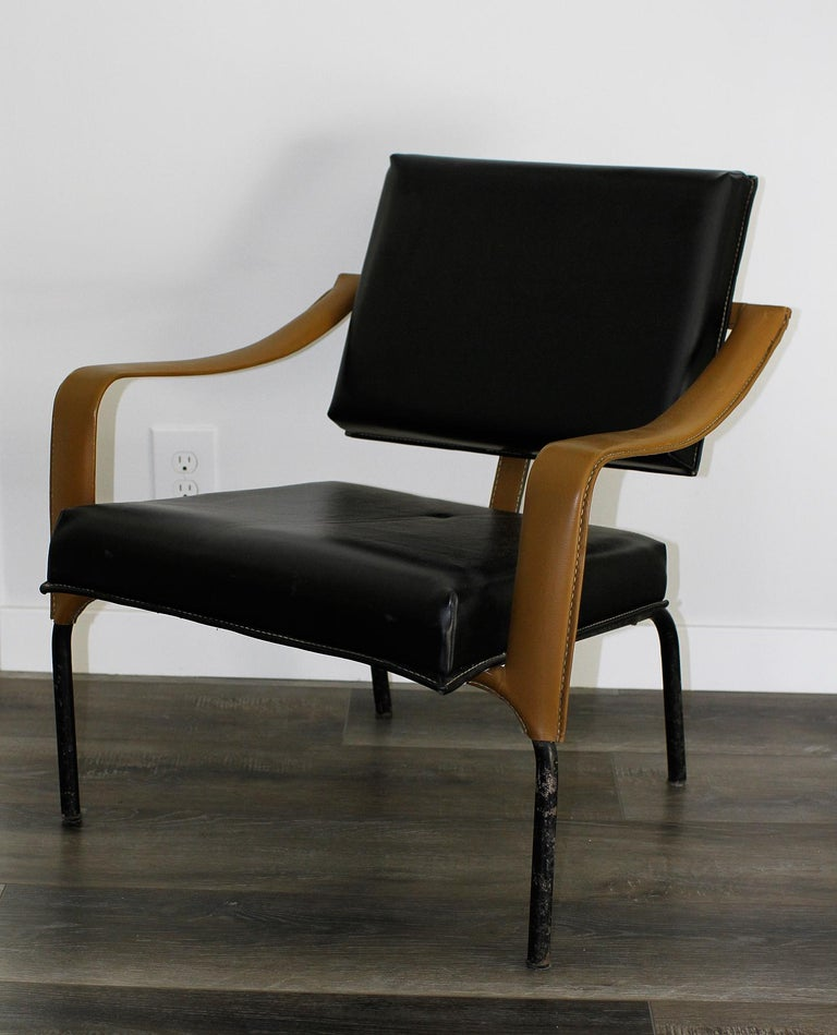 Jacques Adnet & Mercier Original Pair of Chairs 1955 In Distressed Condition For Sale In Encino, CA