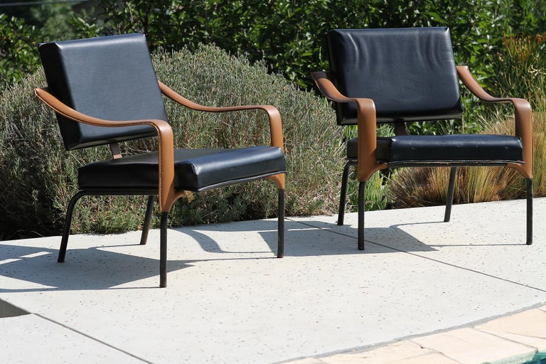 Mid-20th Century Jacques Adnet & Mercier Original Pair of Chairs 1955 For Sale