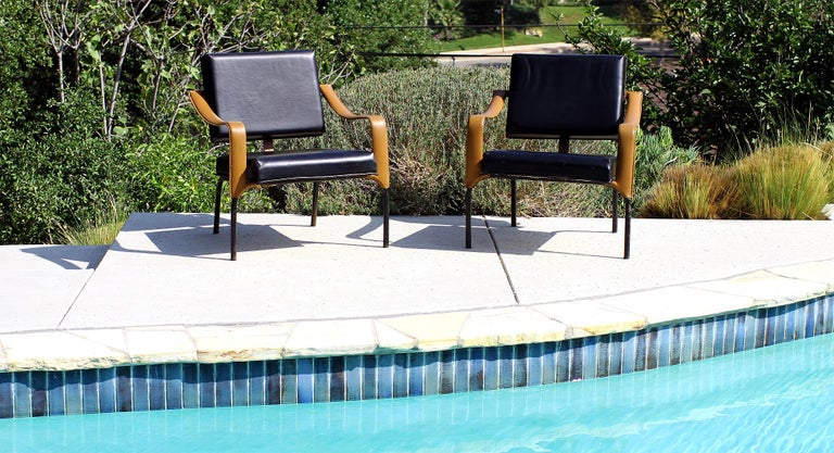 Metal Jacques Adnet & Mercier Original Pair of Chairs 1955 For Sale