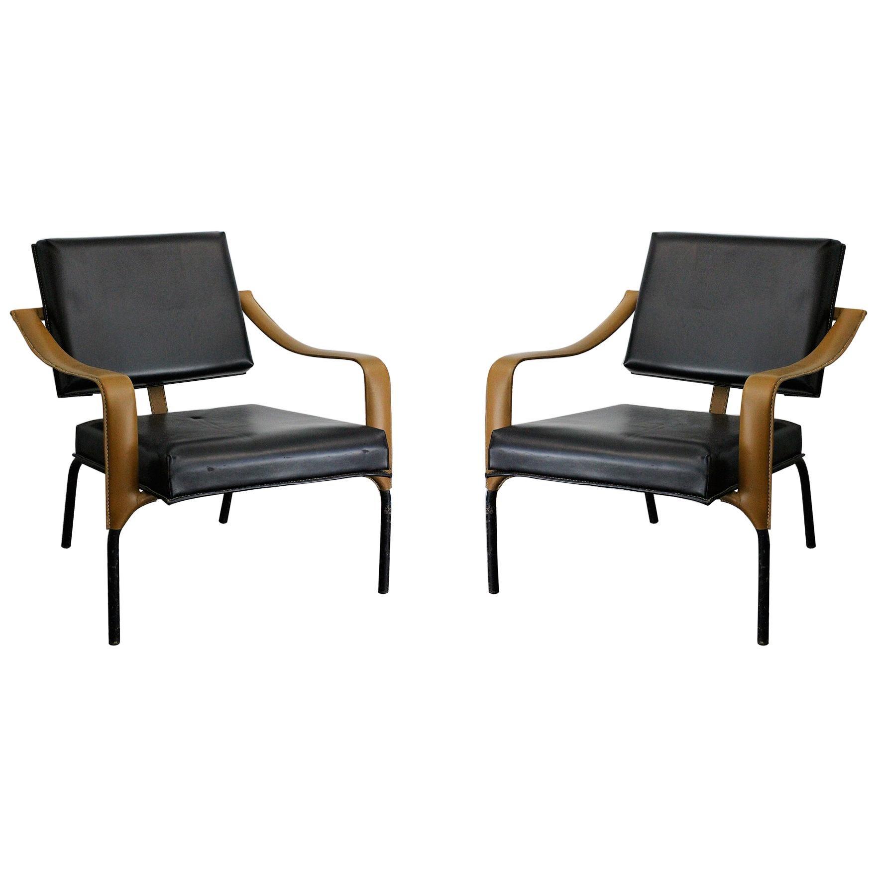 Jacques Adnet & Mercier Original Pair of Chairs 1955