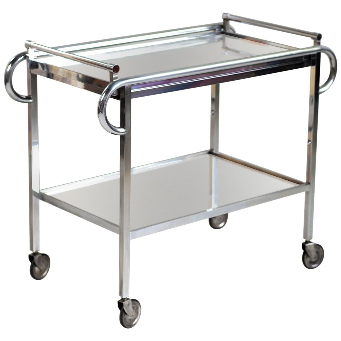 Jacques Adnet, Mirrored Bar Cart Trolley, France, 1930