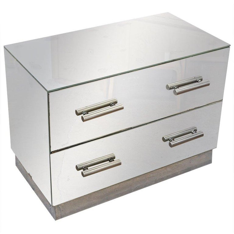Jacques Adnet Mirrored Two-Drawer Console For Sale