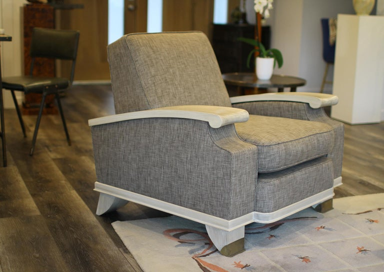 Jacques Adnet Model of Pair of Large Comfortable Armchairs In Excellent Condition For Sale In Encino, CA