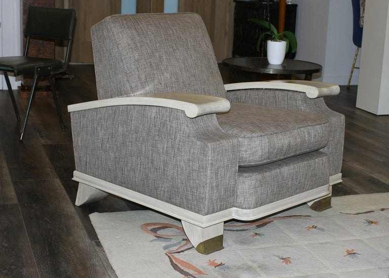 Brass Jacques Adnet Model of Pair of Large Comfortable Armchairs For Sale